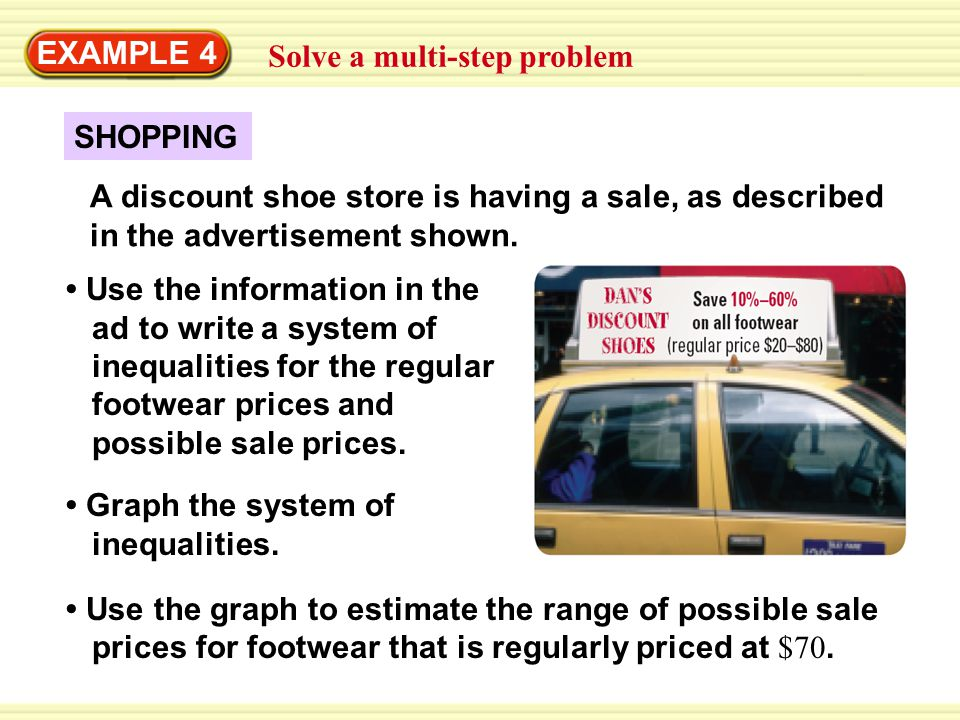 EXAMPLE 4 Solve a multi-step problem SHOPPING A discount shoe store is having a sale, as described in the advertisement shown.