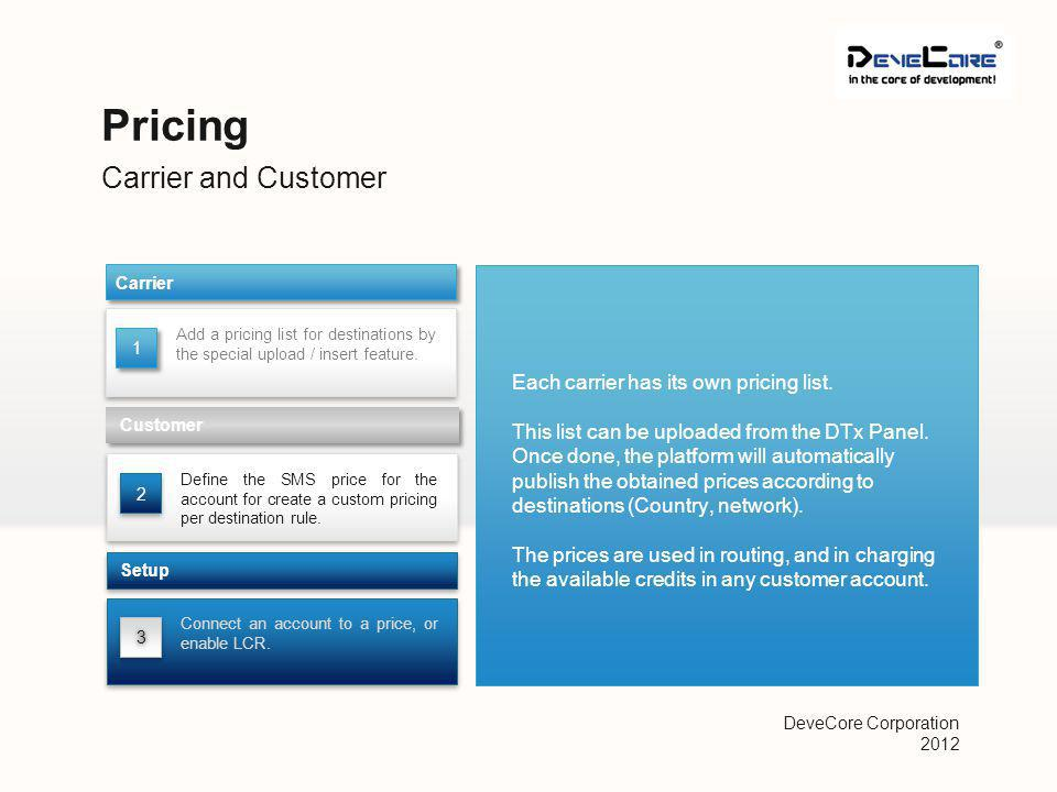Carrier and Customer Pricing Add a pricing list for destinations by the special upload / insert feature.