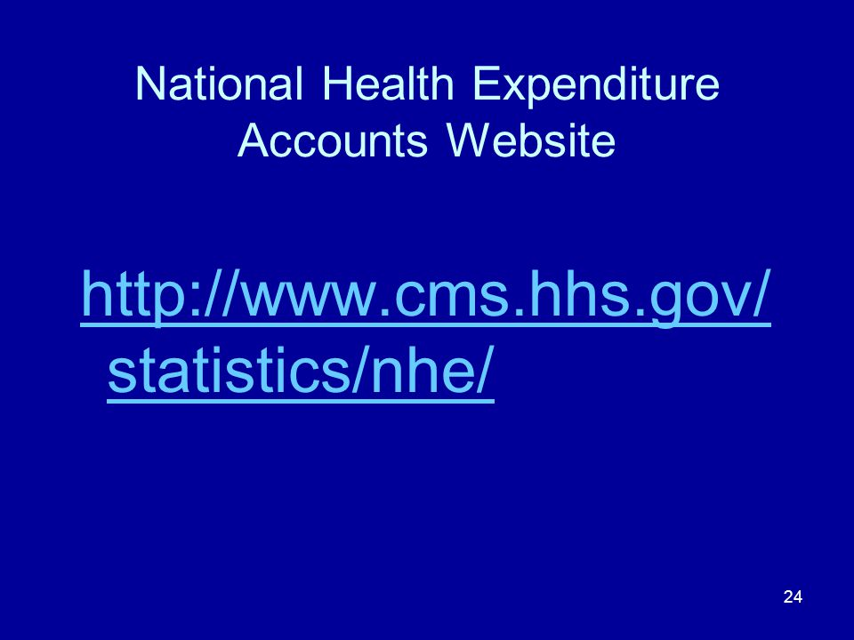 24 National Health Expenditure Accounts Website http://www.cms.hhs.gov/ statistics/nhe/