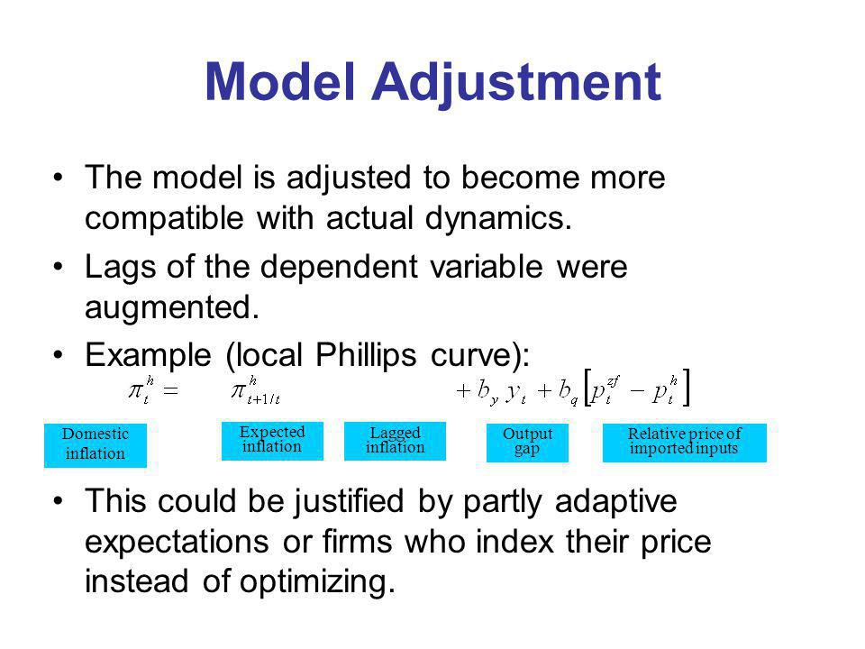 Model Adjustment The model is adjusted to become more compatible with actual dynamics. Lags of the dependent variable were augmented. Example (local P