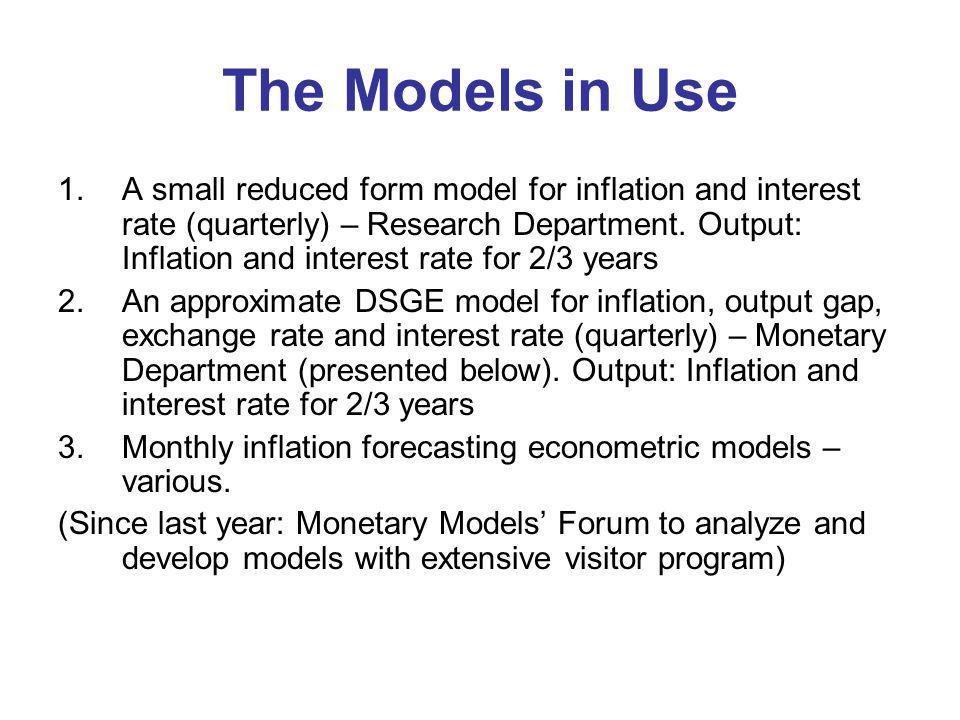 The Models in Use 1.A small reduced form model for inflation and interest rate (quarterly) – Research Department.