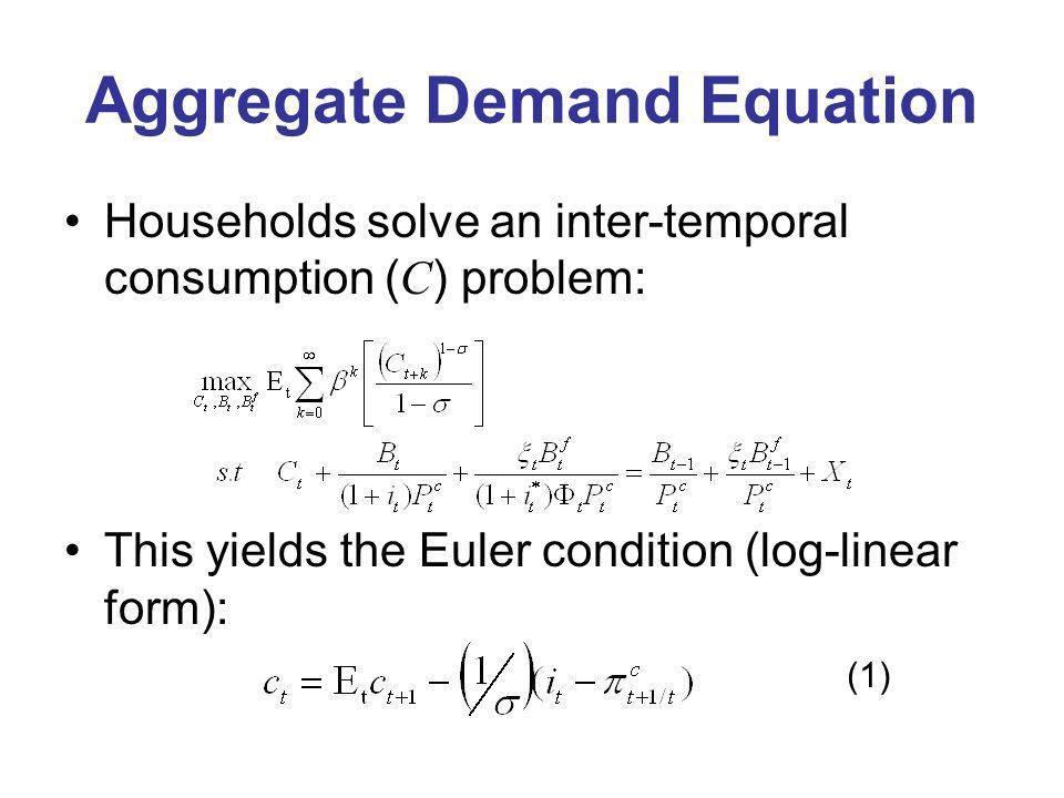 Aggregate Demand Equation Households solve an inter-temporal consumption ( C ) problem: This yields the Euler condition (log-linear form): (1)