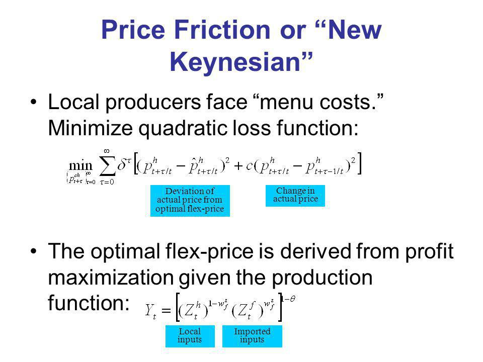 Price Friction or New Keynesian Local producers face menu costs.