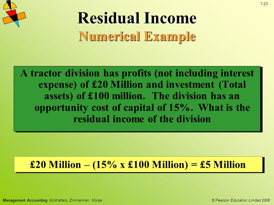 © Pearson Education Limited 2008 7-23 Management Accounting McWatters, Zimmerman, Morse Residual Income Numerical Example A tractor division has profits (not including interest expense) of £20 Million and investment (Total assets) of £100 million.