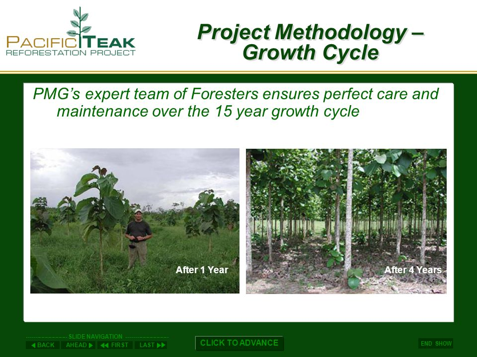 AHEADLASTFIRSTBACK ----------------------- SLIDE NAVIGATION ------------------------ END SHOW CLICK TO ADVANCE Teak Supply Teak supplies are limited by three factors: 2.