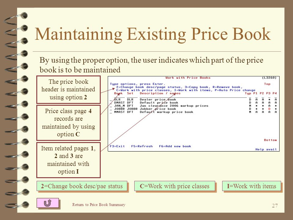 26 Maintaining Existing Price Book 4 The user may choose to maintain –The price book header –Items on pages 1, 2 or 3 –Price classes on page 4 4 The u