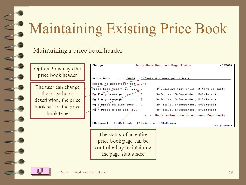 27 Maintaining Existing Price Book By using the proper option, the user indicates which part of the price book is to be maintained The price book head