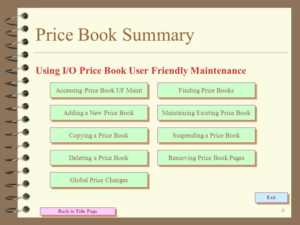 6 Price Book Summary Using I/O Price Book User Friendly Maintenance Back to Title Page Accessing Price Book UF Maint Adding a New Price Book Copying a Price Book Deleting a Price Book Global Price Changes Finding Price Books Maintaining Existing Price Book Suspending a Price Book Removing Price Book Pages Exit