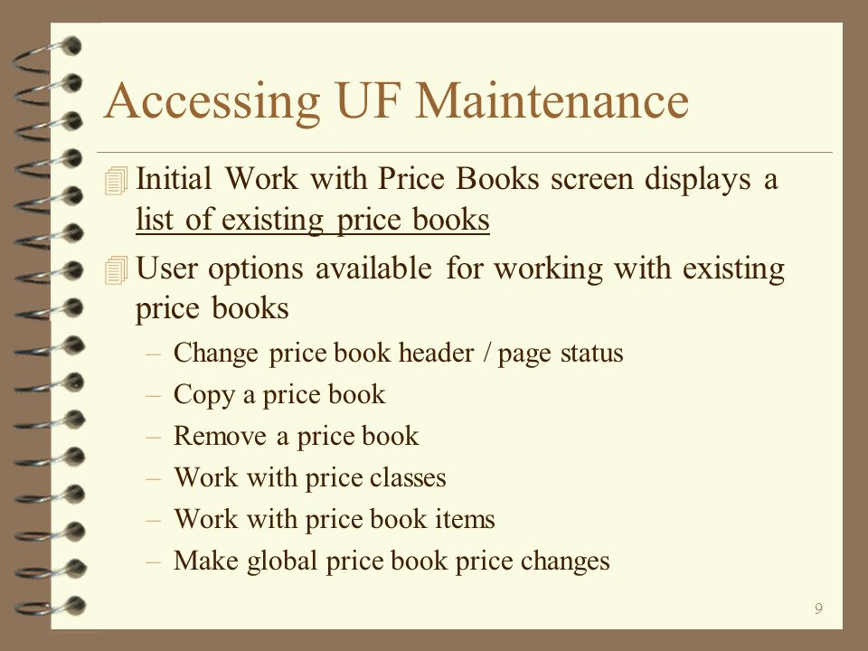 39 Suspending a Price Book The user can suspend an entire price book page from the price book header To suspend an entire price book page, the user first displays the price book header in change mode
