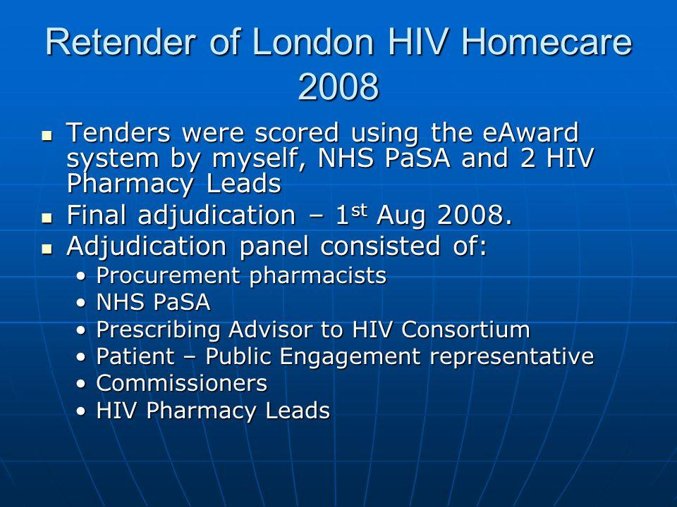 Retender of London HIV Homecare 2008 Tenders were scored using the eAward system by myself, NHS PaSA and 2 HIV Pharmacy Leads Tenders were scored usin