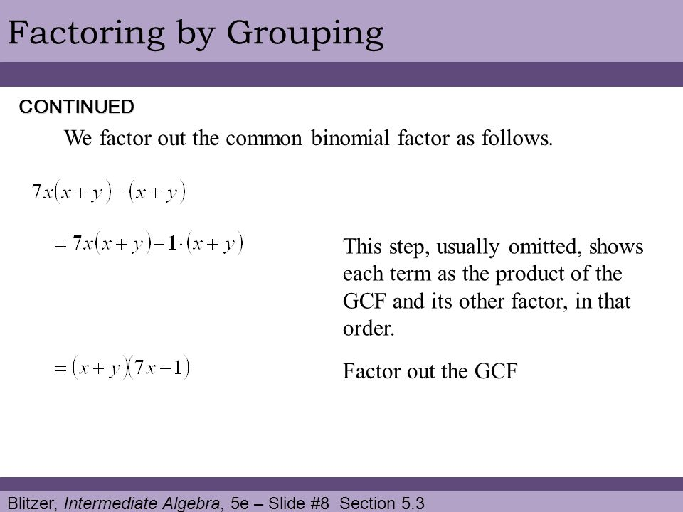 Blitzer, Intermediate Algebra, 5e – Slide #8 Section 5.3 Factoring by Grouping We factor out the common binomial factor as follows. Factor out the GCF