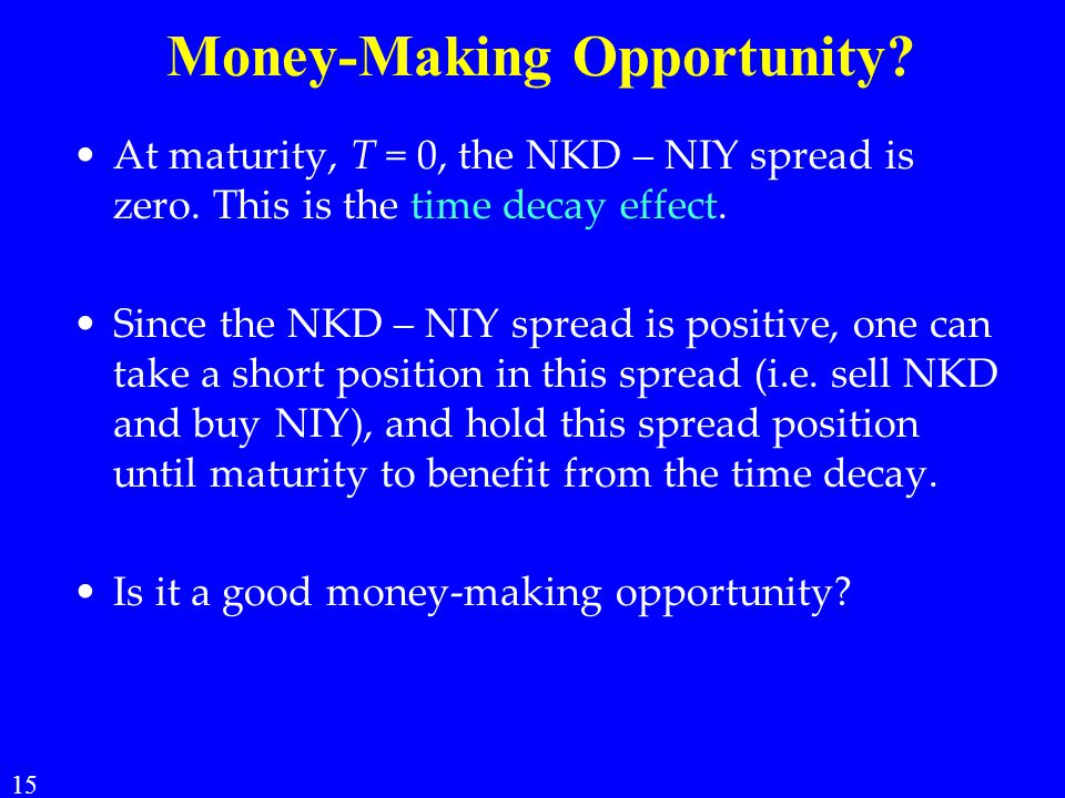Money-Making Opportunity.At maturity, T = 0, the NKD – NIY spread is zero.