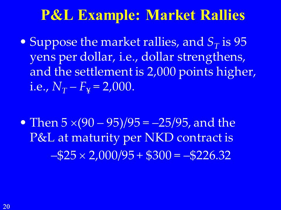 P&L Example: Market Rallies Suppose the market rallies, and S T is 95 yens per dollar, i.e., dollar strengthens, and the settlement is 2,000 points higher, i.e., N T – F ¥ = 2,000.