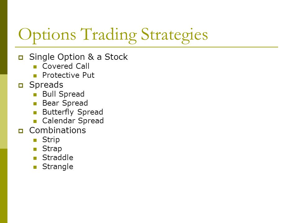 Options Trading Strategies Single Option & a Stock Covered Call Protective Put Spreads Bull Spread Bear Spread Butterfly Spread Calendar Spread Combin