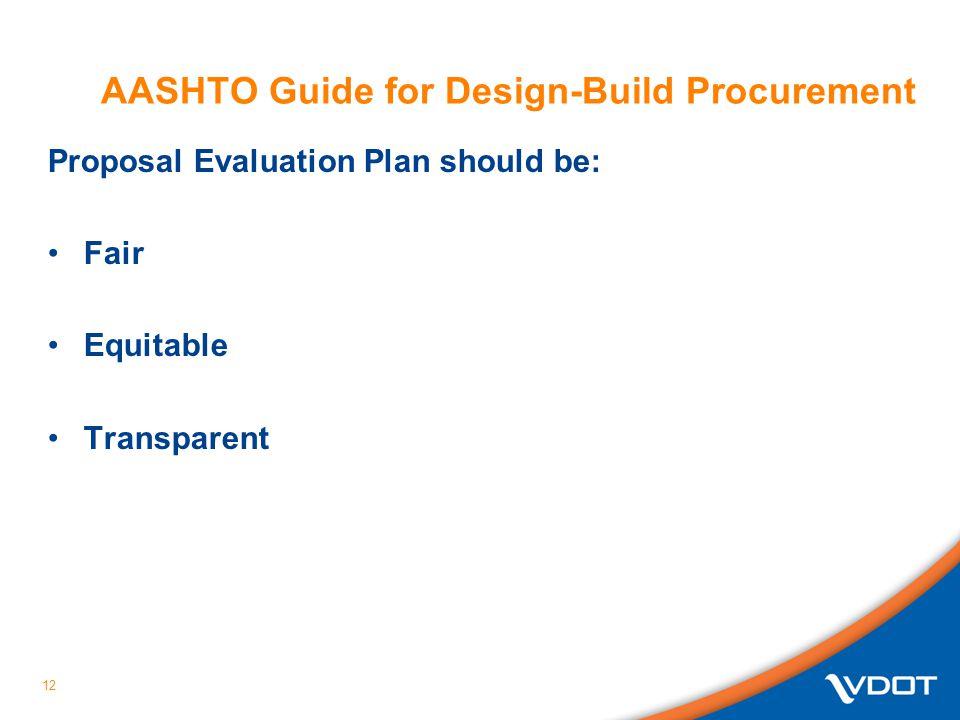 12 AASHTO Guide for Design-Build Procurement Proposal Evaluation Plan should be: Fair Equitable Transparent