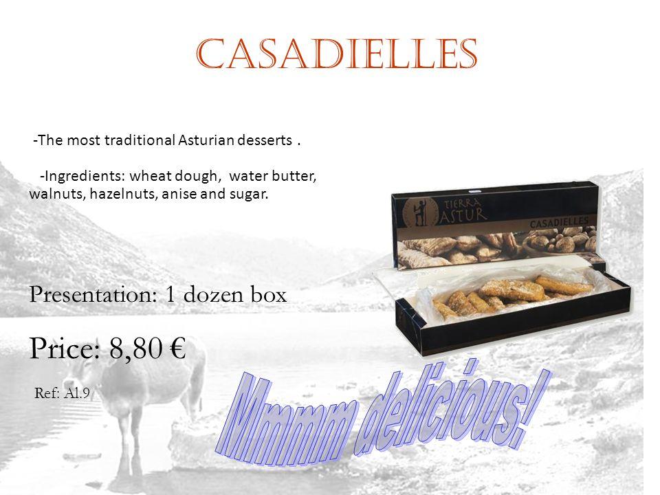 Casadielles Ref: Al.9 Presentation: 1 dozen box Price: 8,80 -The most traditional Asturian desserts.