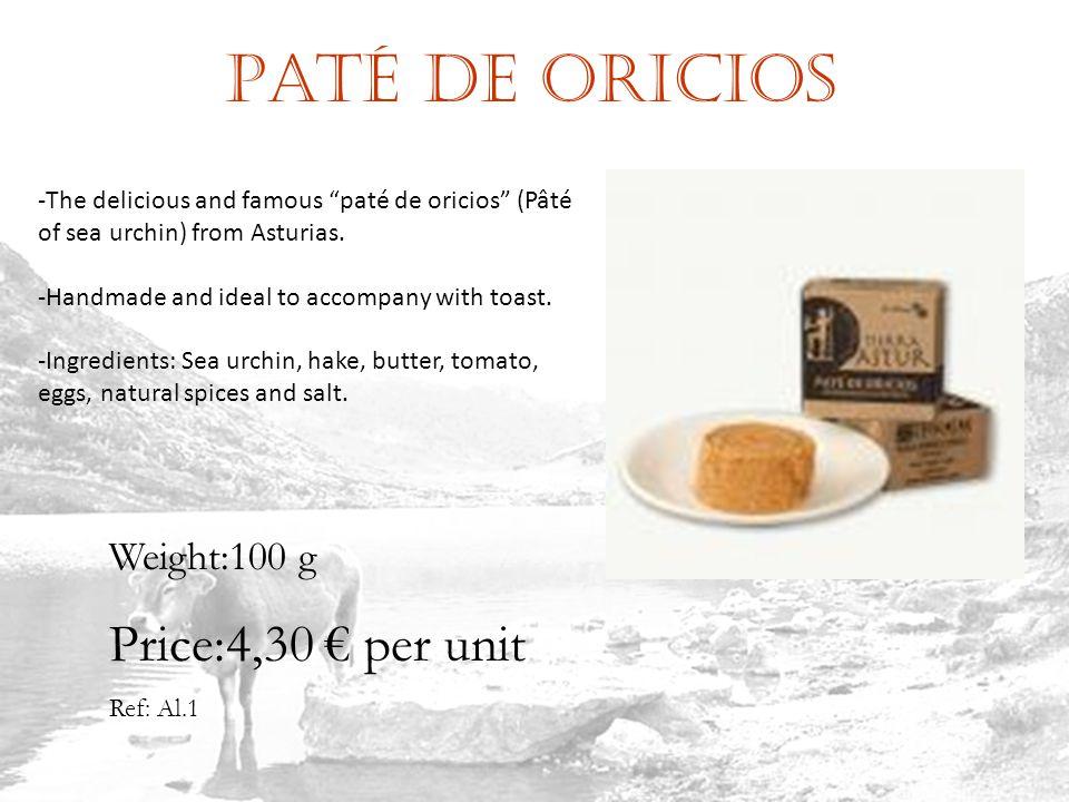 Paté de oricios Ref: Al.1 Weight:100 g Price:4,30 per unit -The delicious and famous paté de oricios (Pâté of sea urchin) from Asturias.