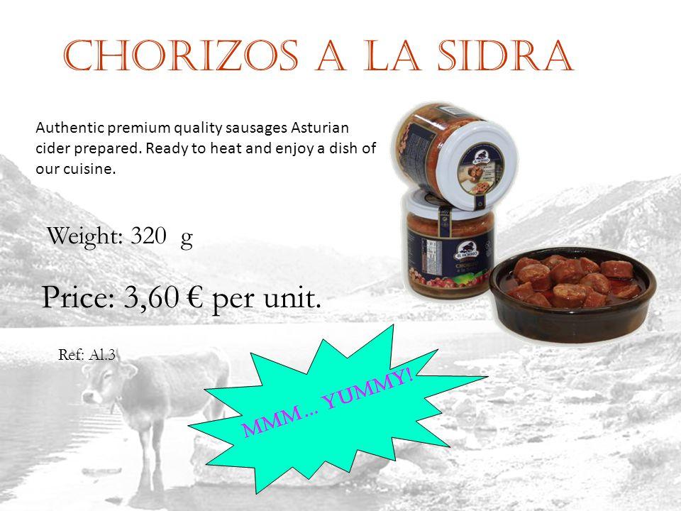 Chorizos a la sidra Ref: Al.3 Weight: 320 g Price: 3,60 per unit.