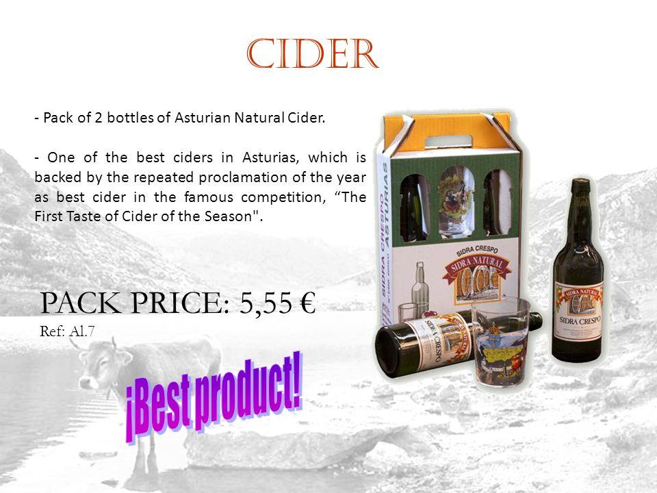 Cider Ref: Al.7 - Pack of 2 bottles of Asturian Natural Cider.