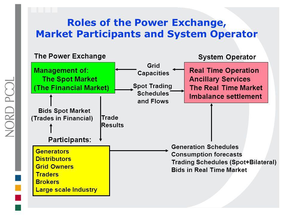 Roles of the Power Exchange, Market Participants and System Operator System Operator Participants: The Power Exchange Generation Schedules Consumption