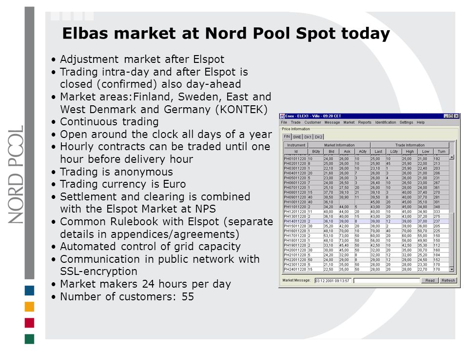 Elbas market at Nord Pool Spot today Adjustment market after Elspot Trading intra-day and after Elspot is closed (confirmed) also day-ahead Market are