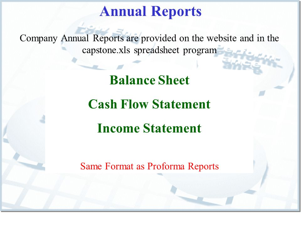Annual Reports Company Annual Reports are provided on the website and in the capstone.xls spreadsheet program Balance Sheet Cash Flow Statement Income Statement Same Format as Proforma Reports