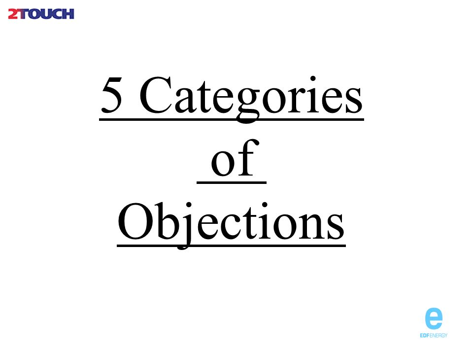 5 Categories of Objections
