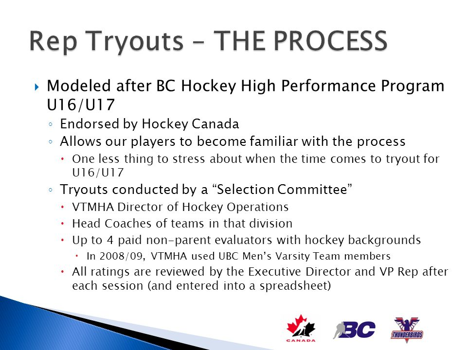 Modeled after BC Hockey High Performance Program U16/U17 Endorsed by Hockey Canada Allows our players to become familiar with the process One less thi