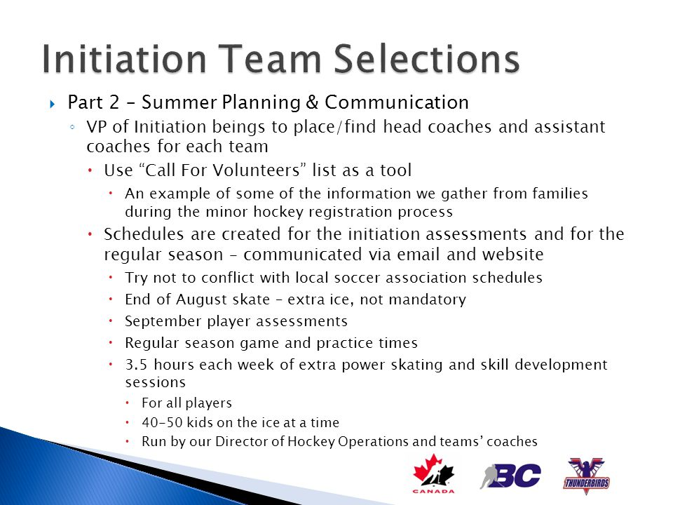Part 2 – Summer Planning & Communication VP of Initiation beings to place/find head coaches and assistant coaches for each team Use Call For Volunteer