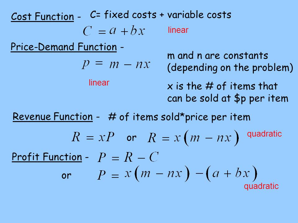 Cost Function - C= fixed costs + variable costs Price-Demand Function - linear m and n are constants (depending on the problem) linear x is the # of i
