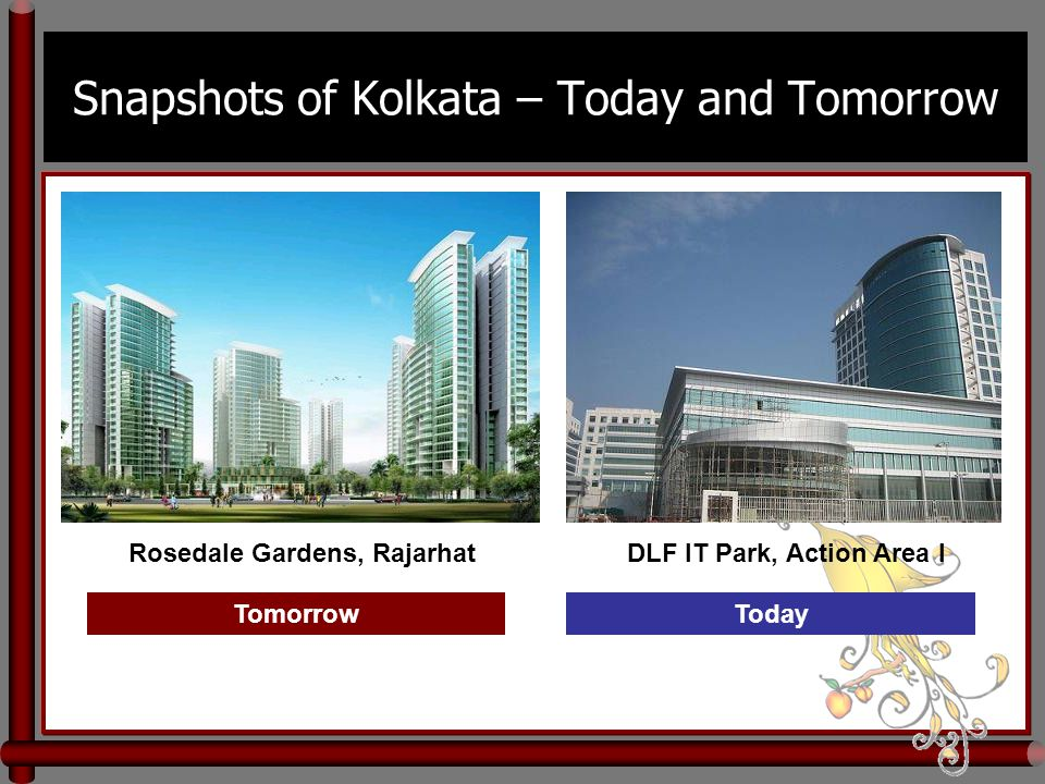 Snapshots of Kolkata – Today and Tomorrow DLF IT Park, Action Area IRosedale Gardens, Rajarhat TomorrowToday