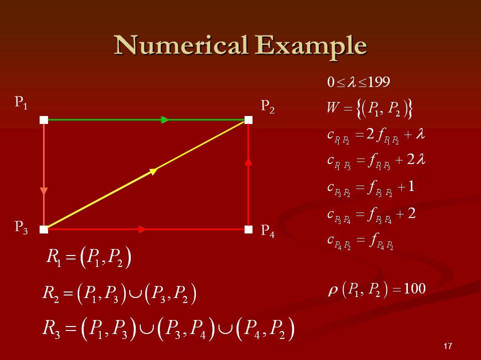 17 Numerical Example P4P4 P1P1 P3P3 P2P2