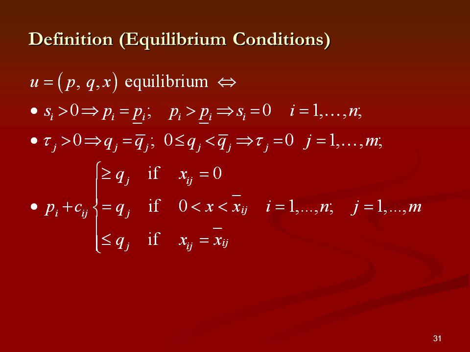 31 Definition (Equilibrium Conditions)