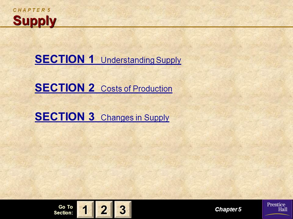123 Go To Section: Supply C H A P T E R 5 Supply SECTION 1 Understanding Supply SECTION 2 Costs of Production SECTION 3 Changes in Supply Chapter 5 2222 3333 1111