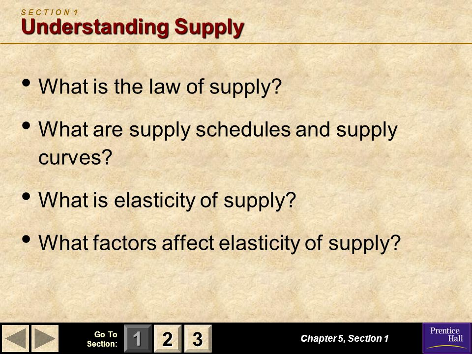 123 Go To Section: Chapter 5, Section 1 Understanding Supply S E C T I O N 1 Understanding Supply What is the law of supply.