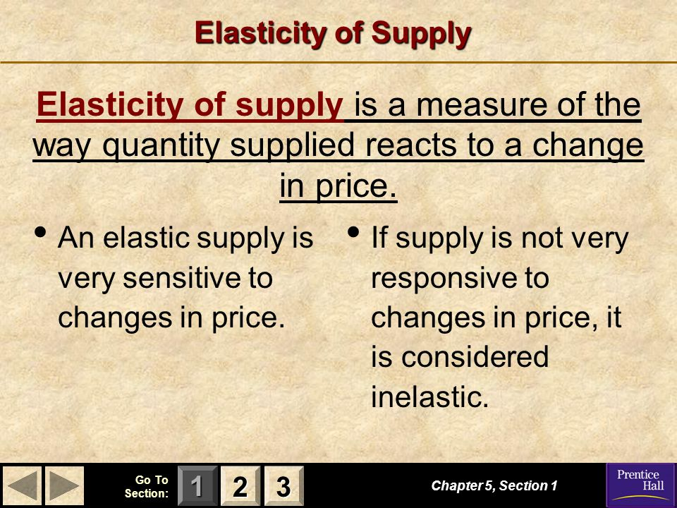 123 Go To Section: Elasticity of Supply If supply is not very responsive to changes in price, it is considered inelastic.