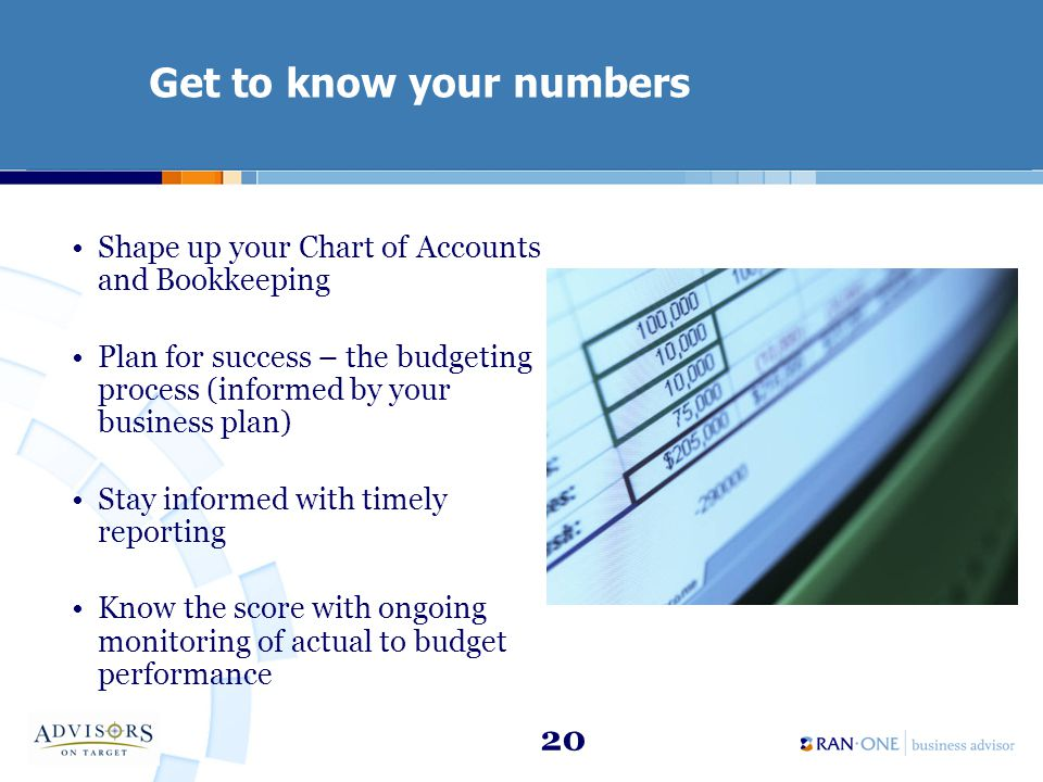 20 Get to know your numbers Shape up your Chart of Accounts and Bookkeeping Plan for success – the budgeting process (informed by your business plan) Stay informed with timely reporting Know the score with ongoing monitoring of actual to budget performance