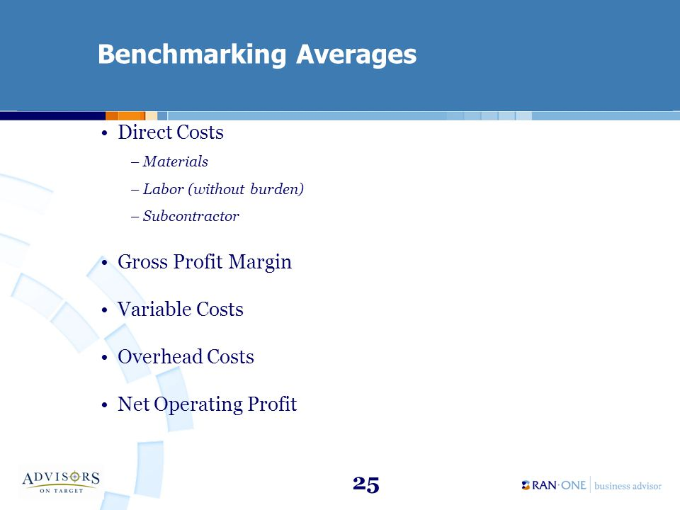 25 Benchmarking Averages Direct Costs –Materials –Labor (without burden) –Subcontractor Gross Profit Margin Variable Costs Overhead Costs Net Operating Profit