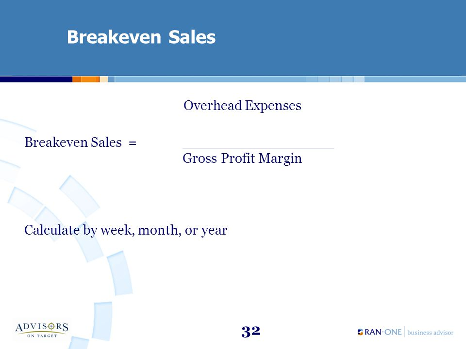 32 Breakeven Sales Overhead Expenses Breakeven Sales = __________________________ Gross Profit Margin Calculate by week, month, or year