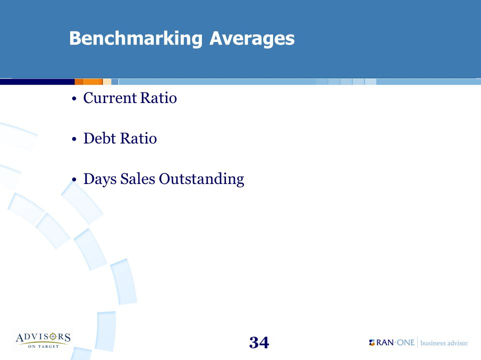 34 Benchmarking Averages Current Ratio Debt Ratio Days Sales Outstanding