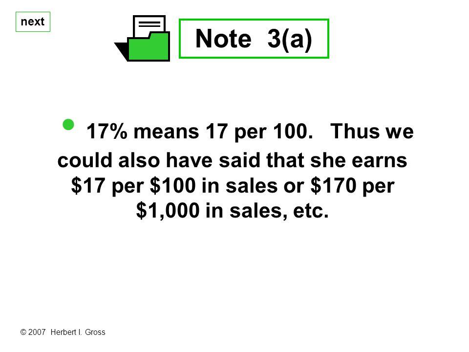 next Note 3(a) 17% means 17 per 100.