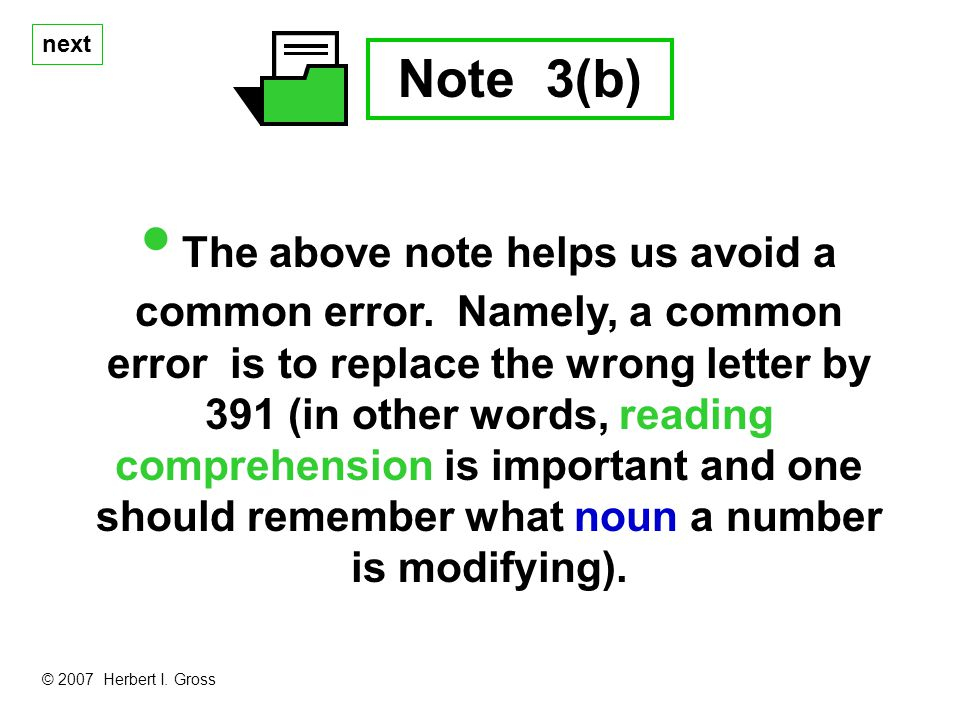 next Note 3(b) The above note helps us avoid a common error.