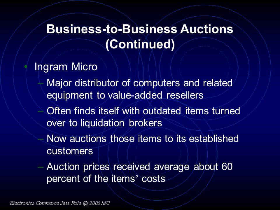 Business-to-Business Auctions (Continued) Ingram Micro –Major distributor of computers and related equipment to value-added resellers –Often finds itself with outdated items turned over to liquidation brokers –Now auctions those items to its established customers –Auction prices received average about 60 percent of the items costs