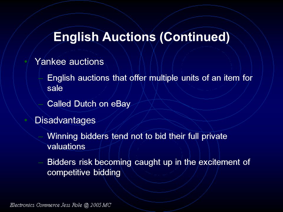 Auction-Related Services (Continued) Auction consignment services –Create online auction for an item –Handle the transaction –Remit balance of proceeds
