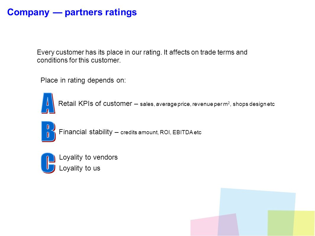 Every customer has its place in our rating. It affects on trade terms and conditions for this customer. Place in rating depends on: Retail KPIs of cus