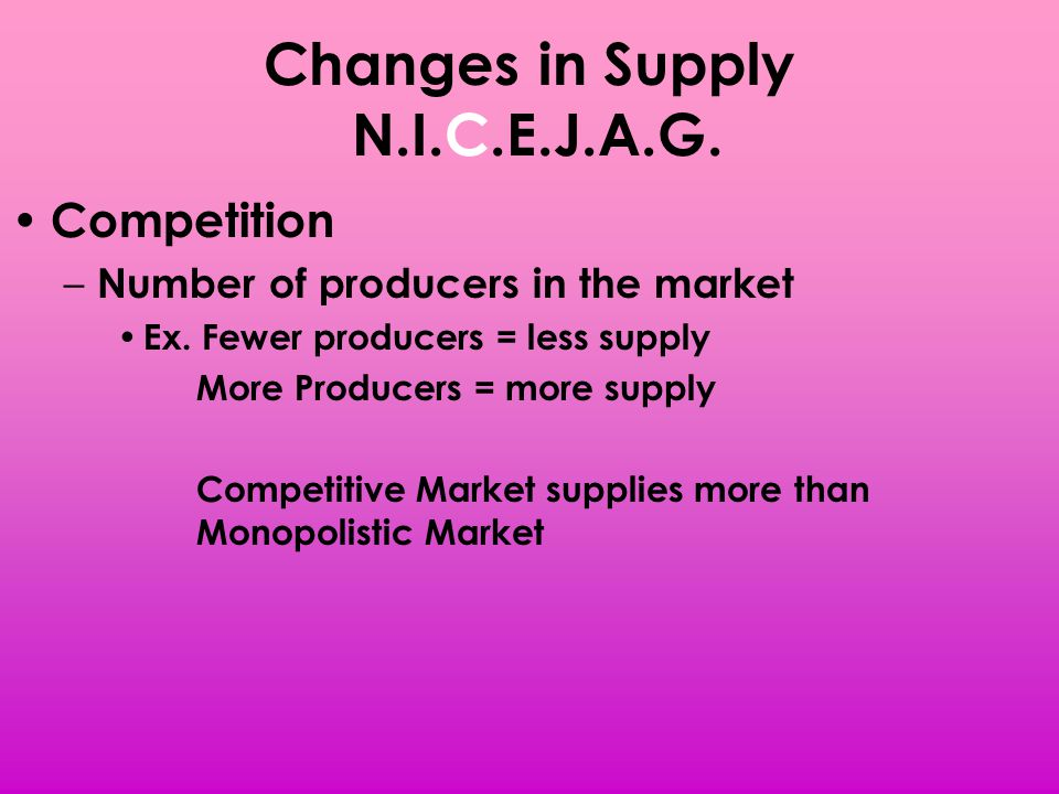 Changes in Supply N.I.C.E.J.A.G. Competition – Number of producers in the market Ex. Fewer producers = less supply More Producers = more supply Compet