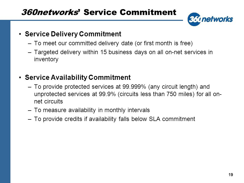 19 360networks Service Commitment Service Delivery Commitment –To meet our committed delivery date (or first month is free) –Targeted delivery within 15 business days on all on-net services in inventory Service Availability Commitment –To provide protected services at 99.999% (any circuit length) and unprotected services at 99.9% (circuits less than 750 miles) for all on- net circuits –To measure availability in monthly intervals –To provide credits if availability falls below SLA commitment