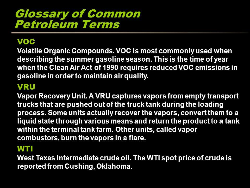 Glossary of Common Petroleum Terms VOC Volatile Organic Compounds.