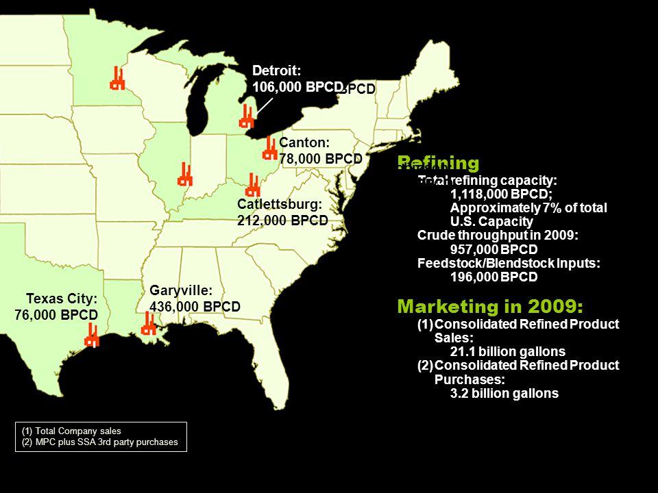 Refining Total refining capacity: 1,118,000 BPCD; Approximately 7% of total U.S. Capacity Crude throughput in 2009: 957,000 BPCD Feedstock/Blendstock
