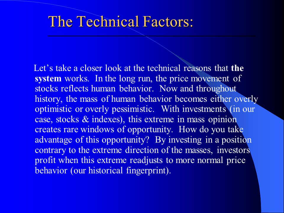 Lets take a closer look at the technical reasons that the system works.